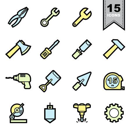 tooling: Tools icons set. Illustration