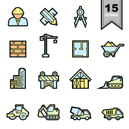skid steer: Construction icons set