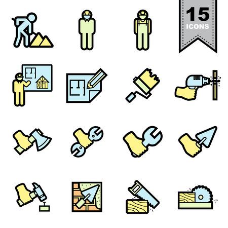 hoe: Construction icons set