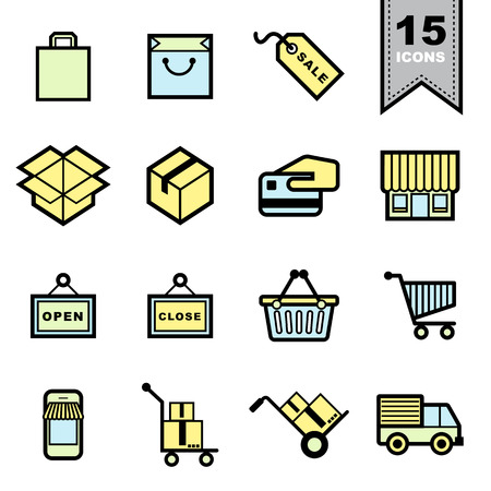 basket icon: Packaging icons set .