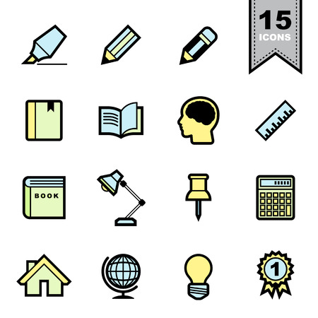 Education icons set . Vector