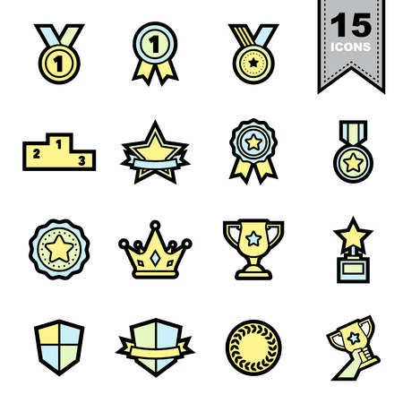Medal icons set   Vector