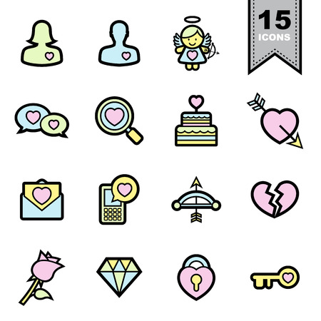Love line icons set. Vector