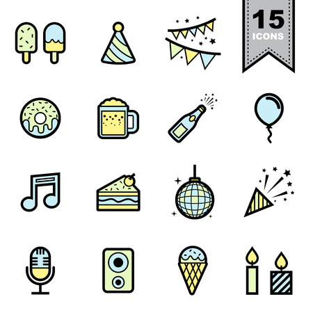 Party line icons set. Vector
