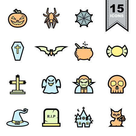 Halloween Line icons set .Illustration eps 10 Vector