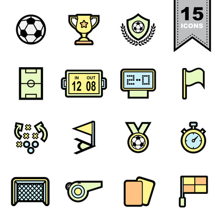 goal cage: Soccer football  Line icons set.Illustration eps 10