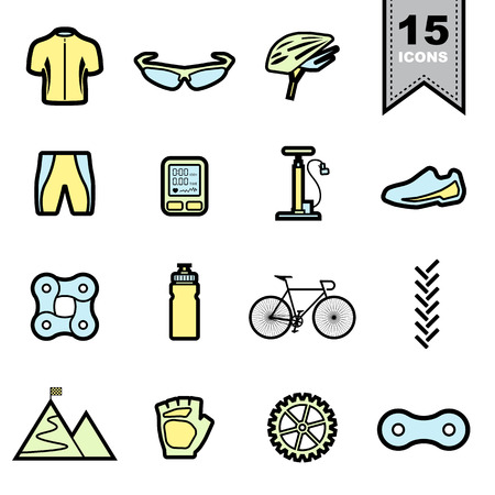 biking glove: Bicycle Line icons set .Illustration eps 10