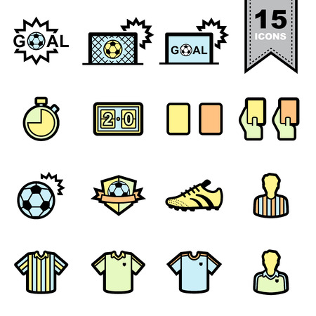 goal cage: Soccer football Line icons set .Illustration eps 10