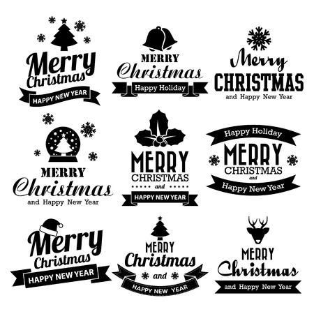Christmas set of Calligraphic And Typographic Design With Labels, Illustration eps10  イラスト・ベクター素材
