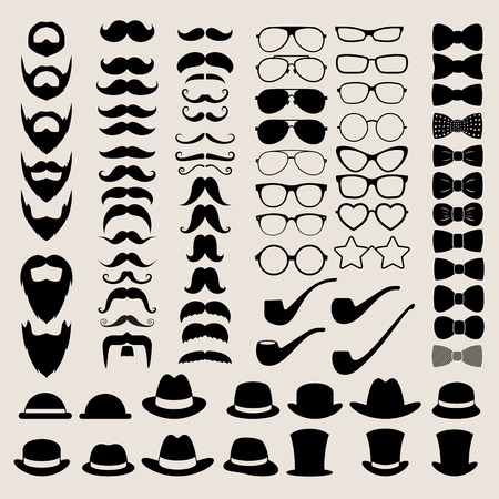 bow tie: Hipster style infographics elements and icons set for retro design.