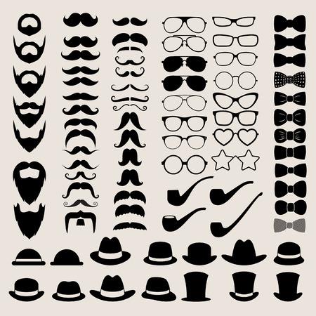 noeud papillon: Éléments de foot de style hippie et les icônes définies pour design rétro.