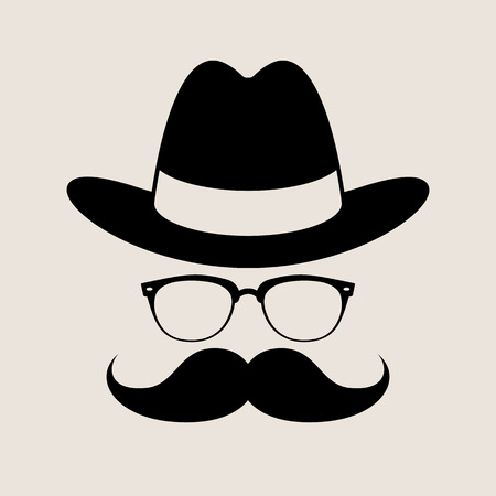 black bow: Hipster style element, glasses ,Hat and mustaches.