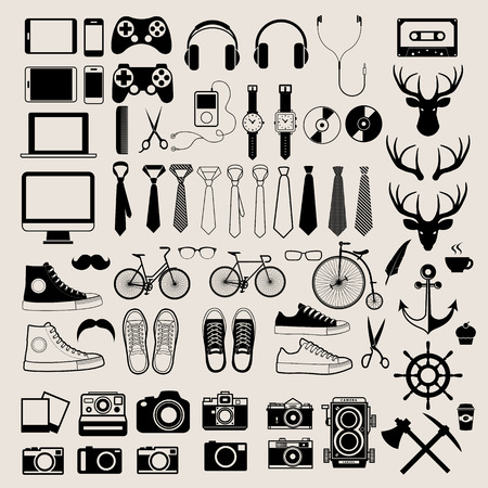 Hipster style infographics elements and icons set for retro design. Vector