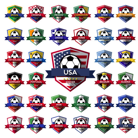Mega Collection of soccer ( football ) badge.Illustration eps10 Vector