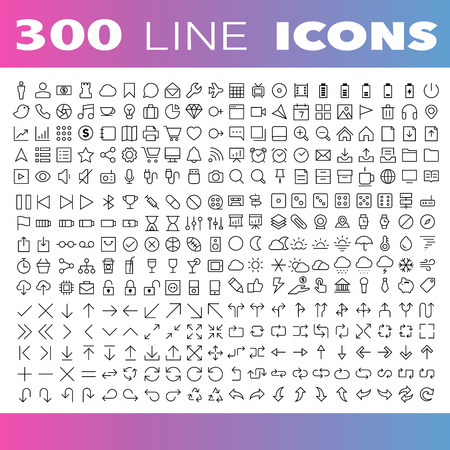 hombre flaco: Thin Line Iconos Set.Illustration eps10