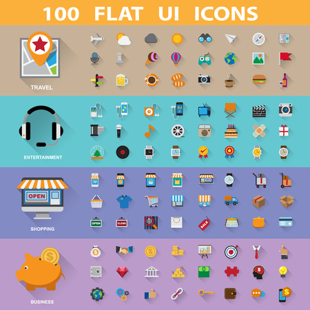 100 flat icons collection.Illustration eps10 Vector