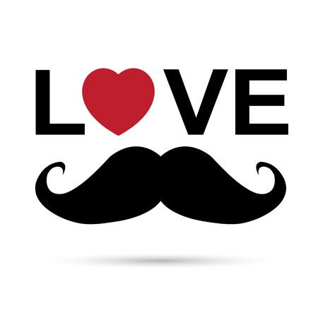 I love mustache with red heart shape.Illustration eps10 Illustration