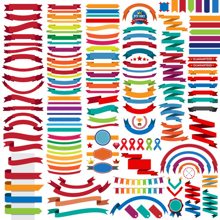 Mega collection of retro ribbons and labels.illustration eps10 Vector