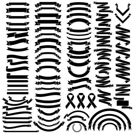 ruban noir: Mega Collection des rubans rétro et labels.illustration eps10 Illustration