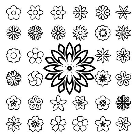 Set of flower line icons.Illustration eps10 Vector