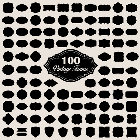 Set of 100 blank vintage frame ( badges and labels) . Illustration eps10  イラスト・ベクター素材