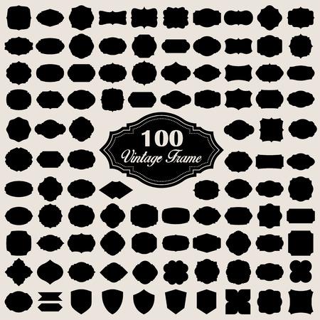 Set van 100 lege vintage frame (badges en labels). Illustratie eps10
