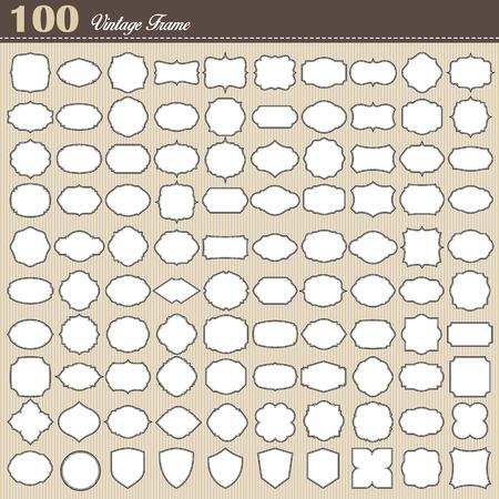 흰색 배경에 100 빈 빈티지 프레임의 집합입니다. 삽화 일러스트