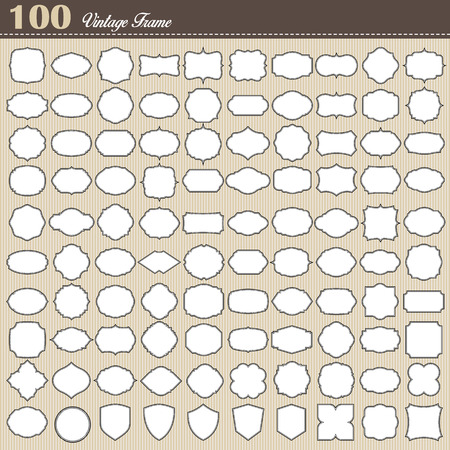 Set of 100 blank vintage frame on white background . Illustration