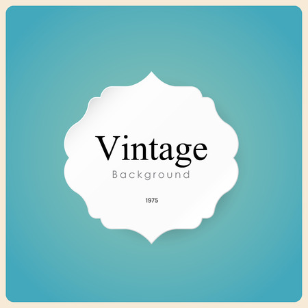 label sticker: White vintage frame on blue background. Illustration  Illustration