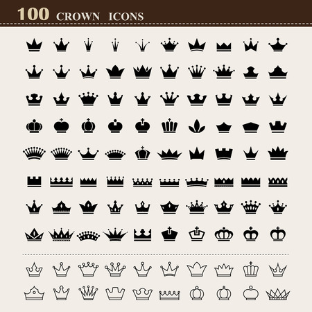 100 basic Crown icons set . Illustration Illustration