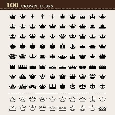 corona rey: 100 iconos básicos corona fijados. Ilustración Vectores