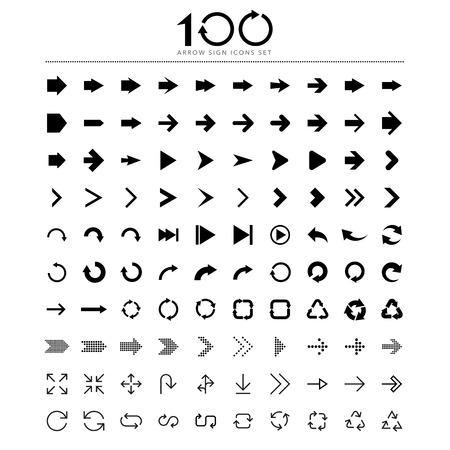100 Basic arrow sign icons set.Illustrator eps10