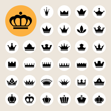 corona de rey: Iconos b�sicos corona fijados. Ilustraci�n eps10