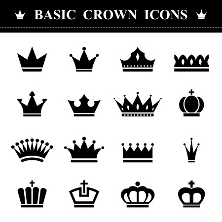 basic: Basic Crown icons set . Illustration eps10