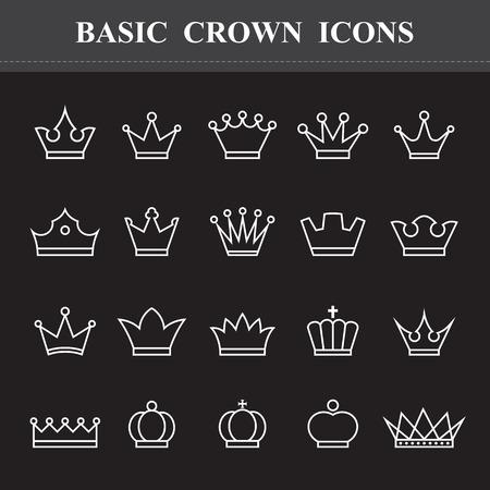 corona real: Corona básico, iconos de línea fija. Ilustración eps10
