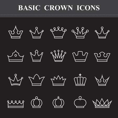 couronne royale: Couronne de base, icônes ligne de conduite. Illustration eps10 Illustration