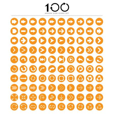 100 Basic arrow sign icons set.Illustrator.