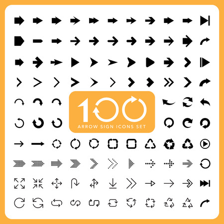 100 Basic arrow sign icons set.Illustrator.
