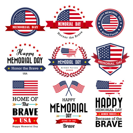 banderas america: Tarjeta de felicitación del vector Feliz Día de los Caídos, insignia y etiquetas .Illustrator eps10 Vectores