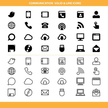 solid line: Communication solid and line icons set .Illustration eps10 Illustration