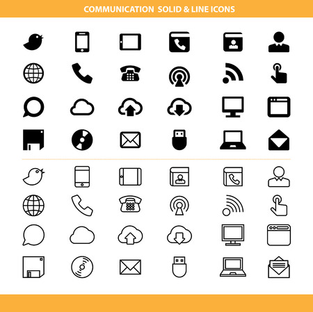 Communication solid and line icons set .Illustration eps10 Vectores
