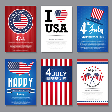 Set of greeting card ,Independent day background.