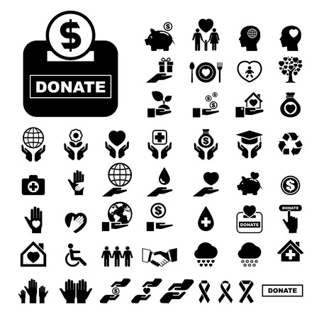 Charity and donation icons set. Illustration eps10 Vector