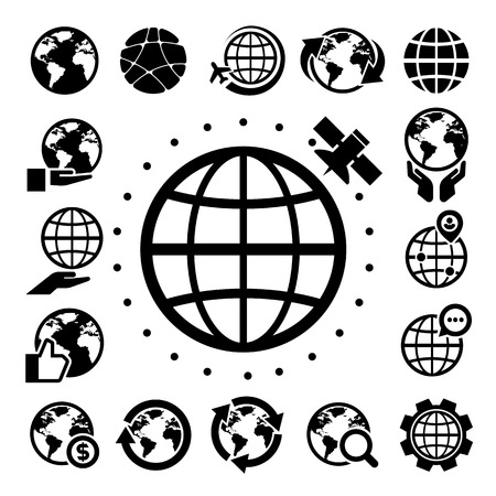 hand globe: Earth vector icons set. Elements of this image furnished by NASA