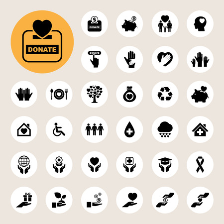 donating: Charity and donation icons set. Illustration eps10