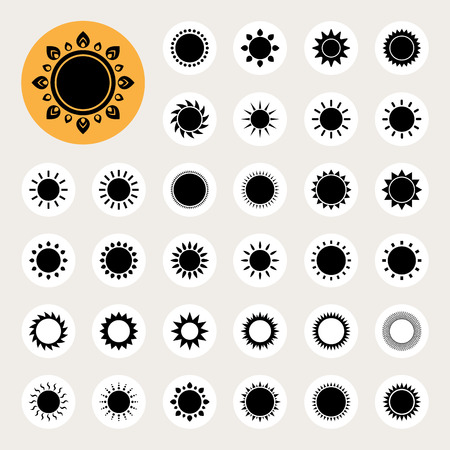 solar symbol: Sun icons set.Illustration eps10