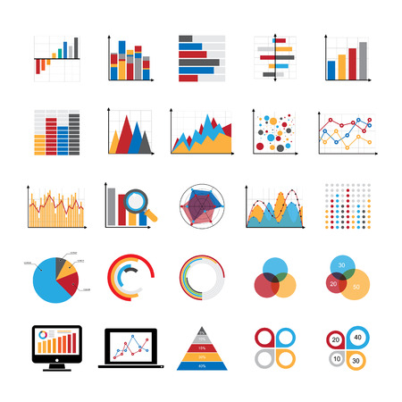 Graphic charts diagrams and business graphs icons set. Illustration eps 10