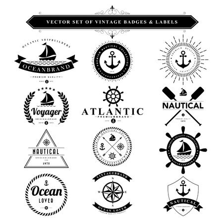 ancla: Conjunto de insignias de la vendimia negros y labels.Vector eps10