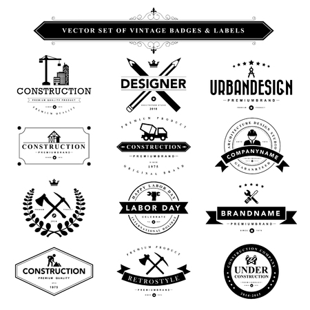 arquitecto: Conjunto de insignias de la vendimia negros y labels.Vector eps10