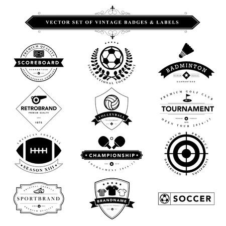 banni�re football: Set de badges vintage noir et labels.Vector eps10